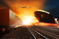 Container trains ,commercial ship on port freight cargo plane fl Stock Images