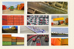 Container transport. Cargo and logistic creative collage Royalty Free Stock Image