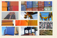 Container transport. Cargo and logisti creative collage Royalty Free Stock Photography