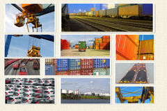 Container transport. Cargo and logisti creative collage Royalty Free Stock Image