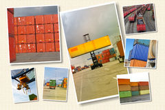 Container transport. Cargo and logisti creative collage Royalty Free Stock Images