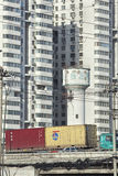 Container transport on expressway, Beijing, China Royalty Free Stock Image