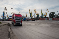 Container transshipment port. Royalty Free Stock Photo