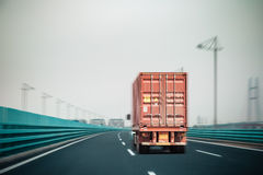 Container truck on the bridge Royalty Free Stock Photography