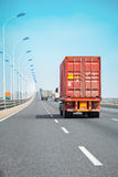 Container truck on the bridge Stock Images