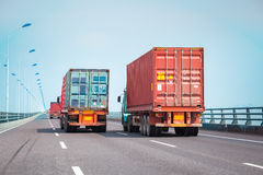 Container truck on the bridge Royalty Free Stock Photos