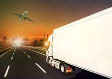 Container truck and cargo plane and logistic industry background stock image