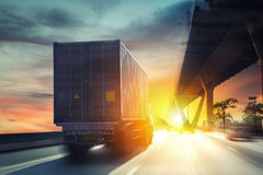 Container truck. On the highway Stock Photo