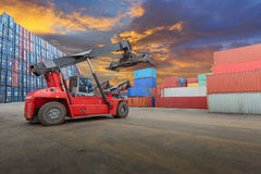 Container truck lifting container Royalty Free Stock Image