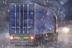 container truck rain and sun concept Royalty Free Stock Image
