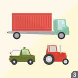 Container truck, safari jeep and farm tractor Royalty Free Stock Image