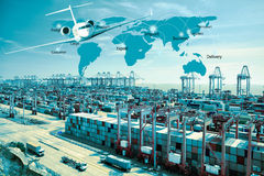 Container truck , ship in port and freight cargo plane in transpo. Rt and commercial logistic , shipping business industry, container ship in import export and royalty free stock images