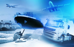 Container truck ,ship in port and freight cargo plane in transpo Royalty Free Stock Photography