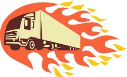 Container Truck and Trailer Flames Retro Stock Photos