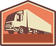 Container Truck and Trailer Flames Retro. Illustration of a container truck and trailer lorry done in retro style viewed from a low angle royalty free illustration