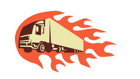 Container Truck Trailer Retro Video. 2d animation of a truck lorry done in retro style with fire flames in the background stock footage