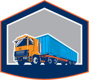 Container Truck and Trailer Shield Retro Stock Image