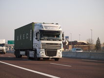 Container truck transport daf xf new model. New model DAF XF truck, tranport container on italian motorway A4 Royalty Free Stock Photos