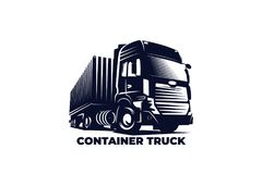 Container truck vector illustration, eps 10 file. Container truck vector illustration or logo, eps 10 file, editable file royalty free illustration
