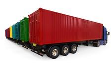 Container Trucks fleet concept Stock Images
