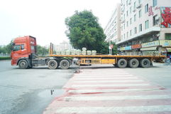 Container trucks in loading and unloading goods Royalty Free Stock Photo
