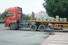Container trucks in loading and unloading goods Stock Photo