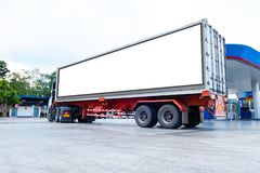 Container trucks Logistic by Cargo truck on the road .empty white billboard .Blank space for text and images.  stock photo