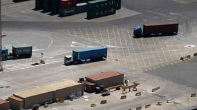 Container trucks in a port Royalty Free Stock Photography