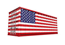 Container with United States Flag Royalty Free Stock Photo