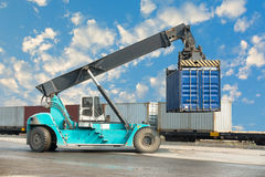 Container unloading truck in logistics yard., Business transpotation. Stock Photos