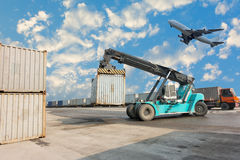 Container unloading truck and yard logistics., Business transportation. Royalty Free Stock Photos