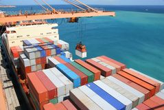 Container uploading royalty free stock photos