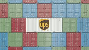 Container with UPS corporate logo. Editorial 3D rendering. Container with company logo. Editorial rendering royalty free illustration