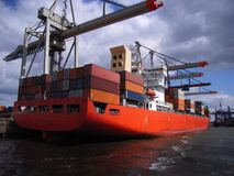 Container vessel. Docked at a terminal Stock Images