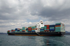Container vessel on anchorage Stock Image