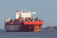 Container Vessel CAP SAN MARCO On Elbe River Royalty Free Stock Image