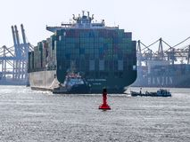 Ship arriving in the Port of Hamburg stock image