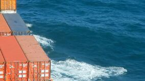 Container vessel making waves stock footage