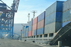 Container vessel moored in the port, Royalty Free Stock Image