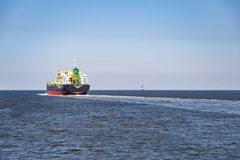 Container vessel in the North Sea en route to Hamburg royalty free stock images
