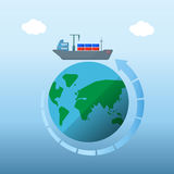 Container vessel ship over around the planet Stock Images