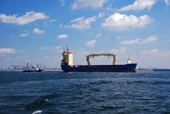 Container vessel transiting Singapore anchorage. Stock Photography
