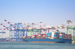 Container vessel unloaded in Port of kaohsiung Royalty Free Stock Photo