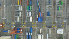 Container warehouse in the cargo port . Logistic center in seaport. Container warehouse in the cargo port stock video