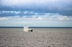 Container white ship in Gulf of Finland in Baltic sea stock images