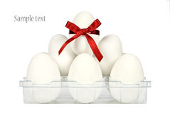 Container wiht white easter eggs Royalty Free Stock Images