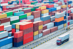 Container yard closeup Royalty Free Stock Images