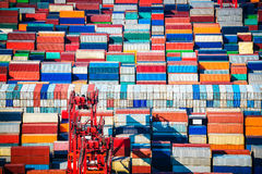 Container yard closeup Royalty Free Stock Photography