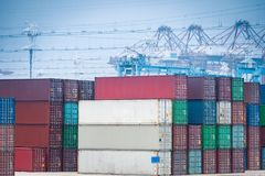 Container yard closeup Stock Image