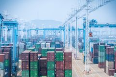 Container yard closeup Royalty Free Stock Image